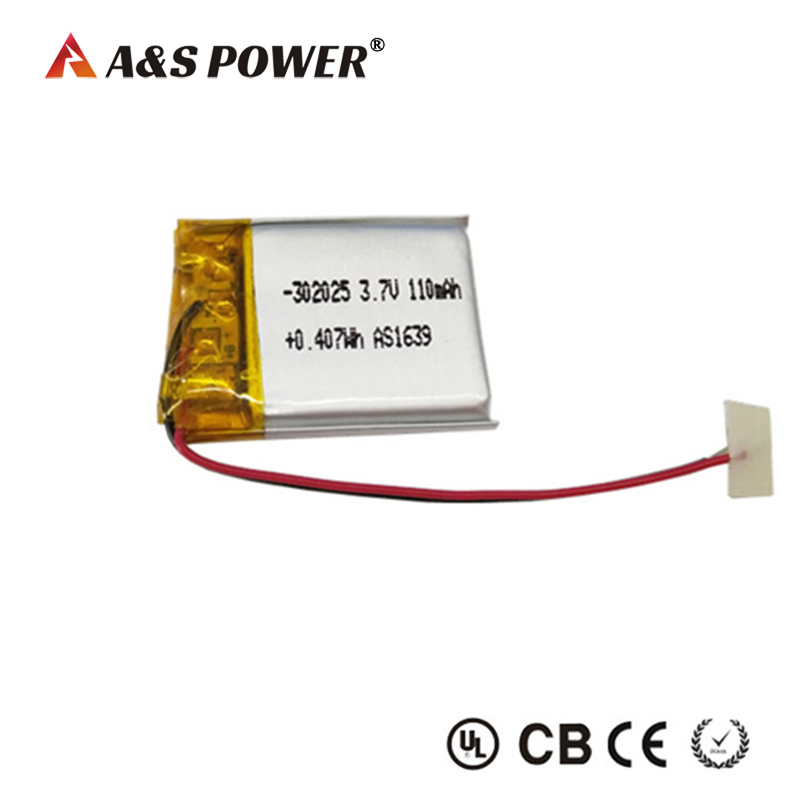 UL Rechargeable 302025 3.7v 110mah li-polymer battery for bluetooth massager