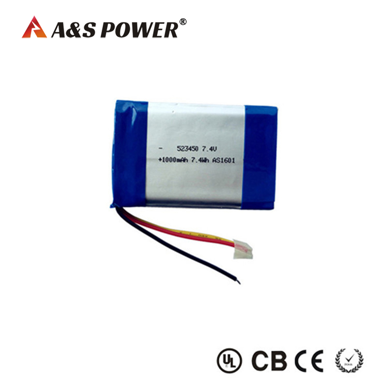 Rechargeable Lithium 523450 1000mah 7.4v li-polymer battery