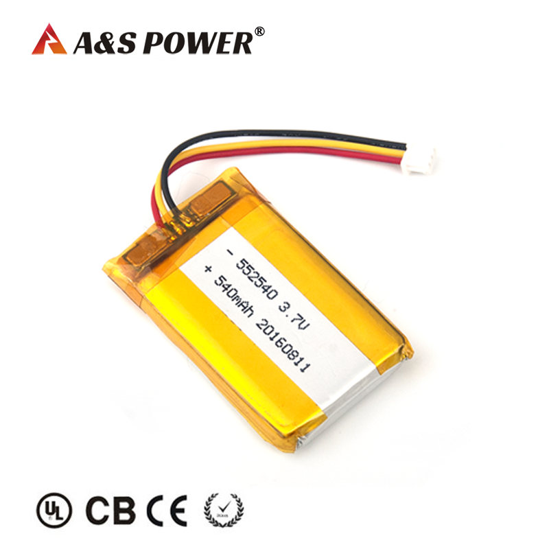 UL 552540 3.7v 540mah lipo battery for bluetooth device
